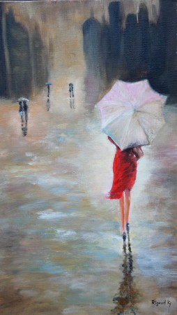 La nuit, une ville, une rue, la pluie et une femme
