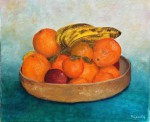 Nature morte coupe d'agrumes et de fruit divers.